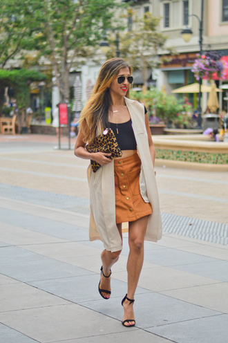 cuppajyo blogger sleeveless coat button up skirt jewelry necklace layered gold necklace