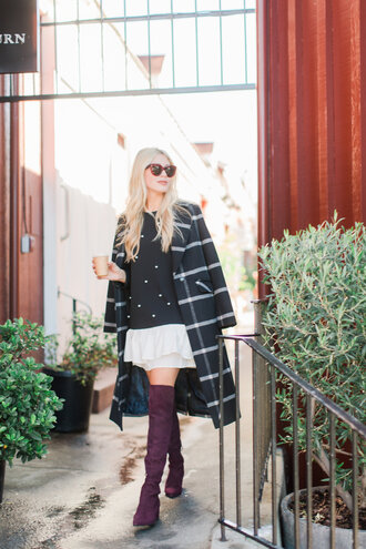 modern ensemble blogger dress coat shoes sunglasses boots black sweater over the knee boots fall outfits