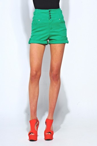 Ladies Carly High Waisted Shorts in Green | Pop Couture