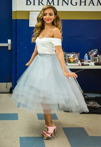 dress prom bardot light blue little mix cute girly blue tutu dress jade thirlwall prom dress bardot dress white bardot tutu dress feminine music video tulle dress
