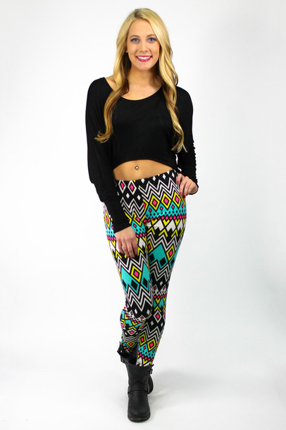 Leggings Crop Tops Black