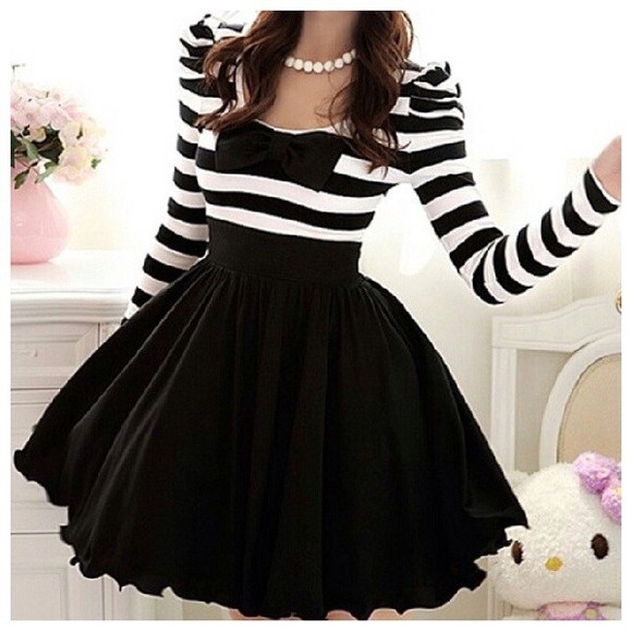 dress mini dress black stripes t-shirt