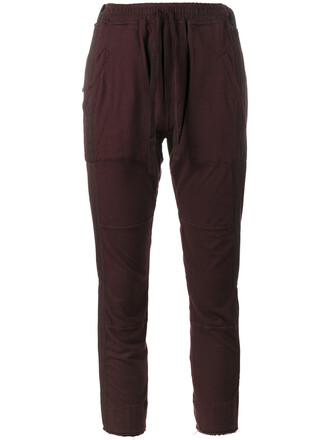 pants track pants cropped women cotton purple pink