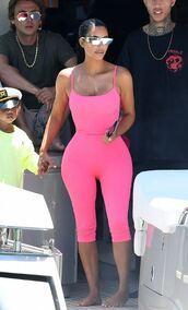 jumpsuit,pink,kim kardashian,kardashians,leggings