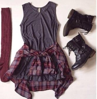 dress grunge boots grunge dress flannel shirt black combat boots