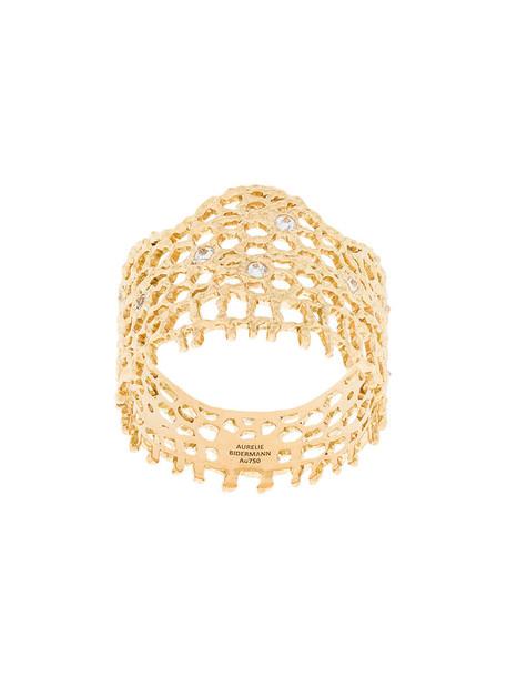 AURELIE BIDERMANN vintage women ring lace gold grey metallic jewels