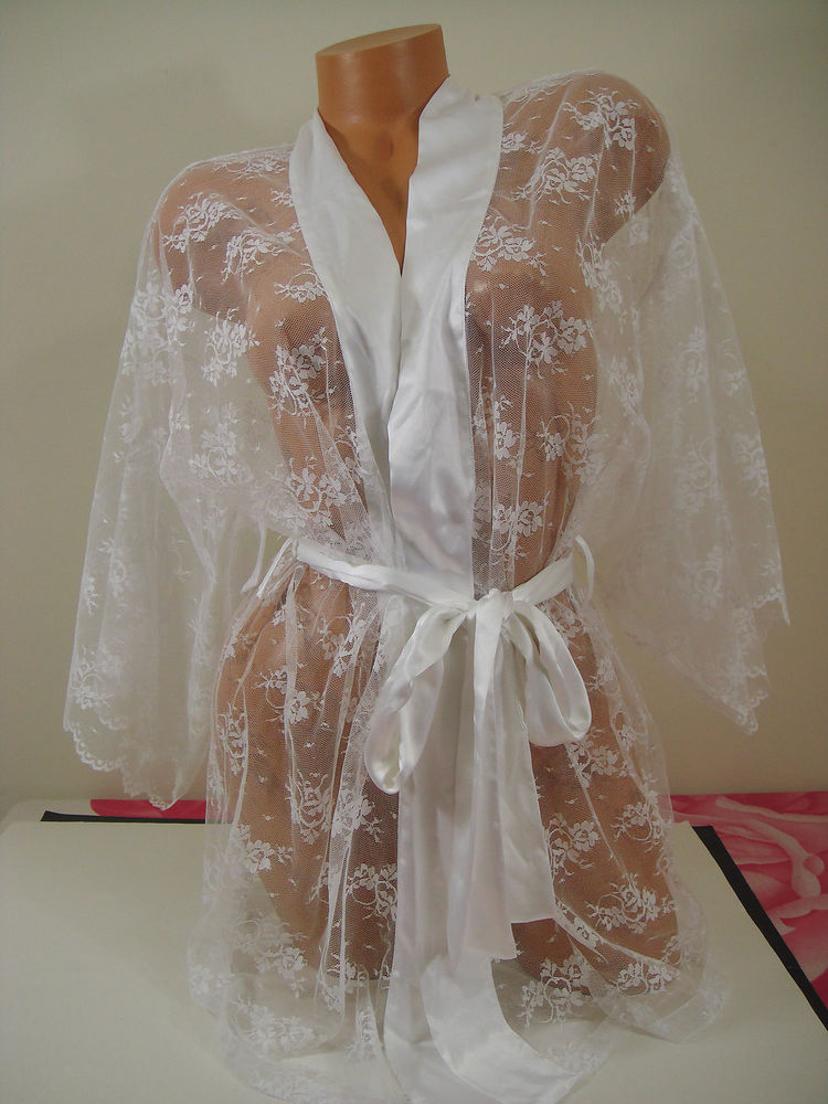 "NWD Victoria's Secret One Size ""I do"" Sheer Kimono Robe Luxurious and Sexy Lace 
