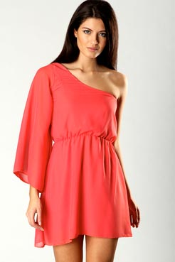 Lisa one shoulder chiffon dress at boohoo.com