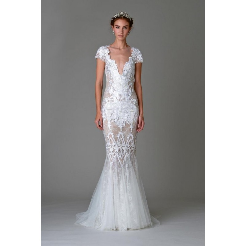 Look 11 by Marchesa - Floor length Short sleeve V-neck Fit-n-flare Lace Dress - 2018 Unique Wedding Shop