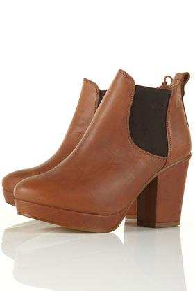 Allegra tan chelsea platform heeled boots