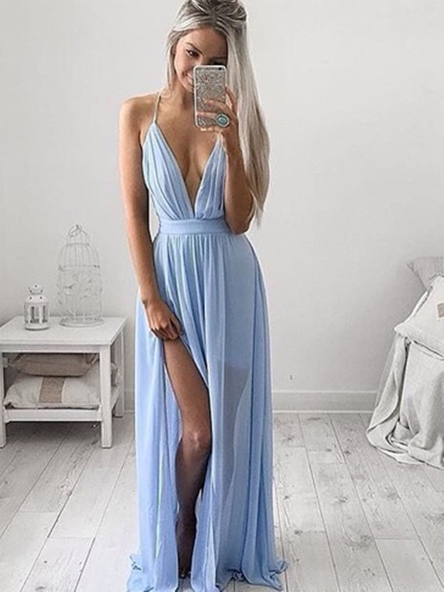 A Line V Neck Light Blue Prom Dress with Slit, Light Blue Formal Dress, Bridesmaid Dress on Storenvy