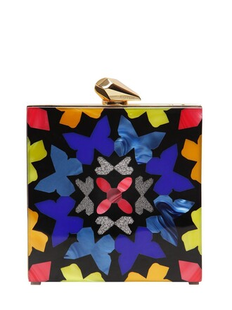 geometric clutch black bag