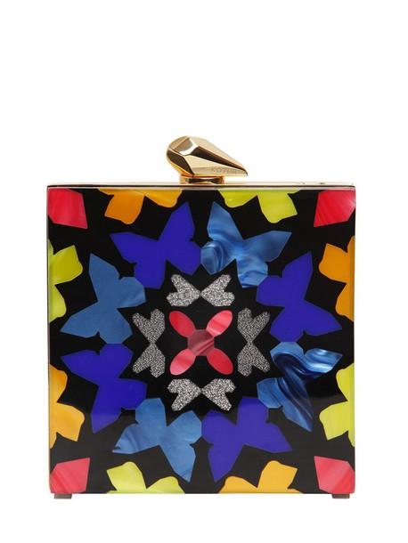 geometric clutch black bag