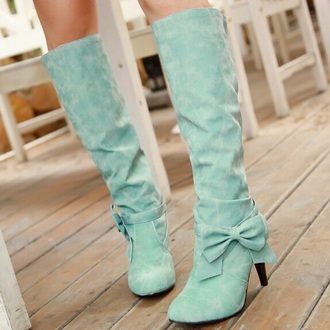 shoes boots blue mint green shoes mint heels mint bow pastel cute cute shoes cute high heels