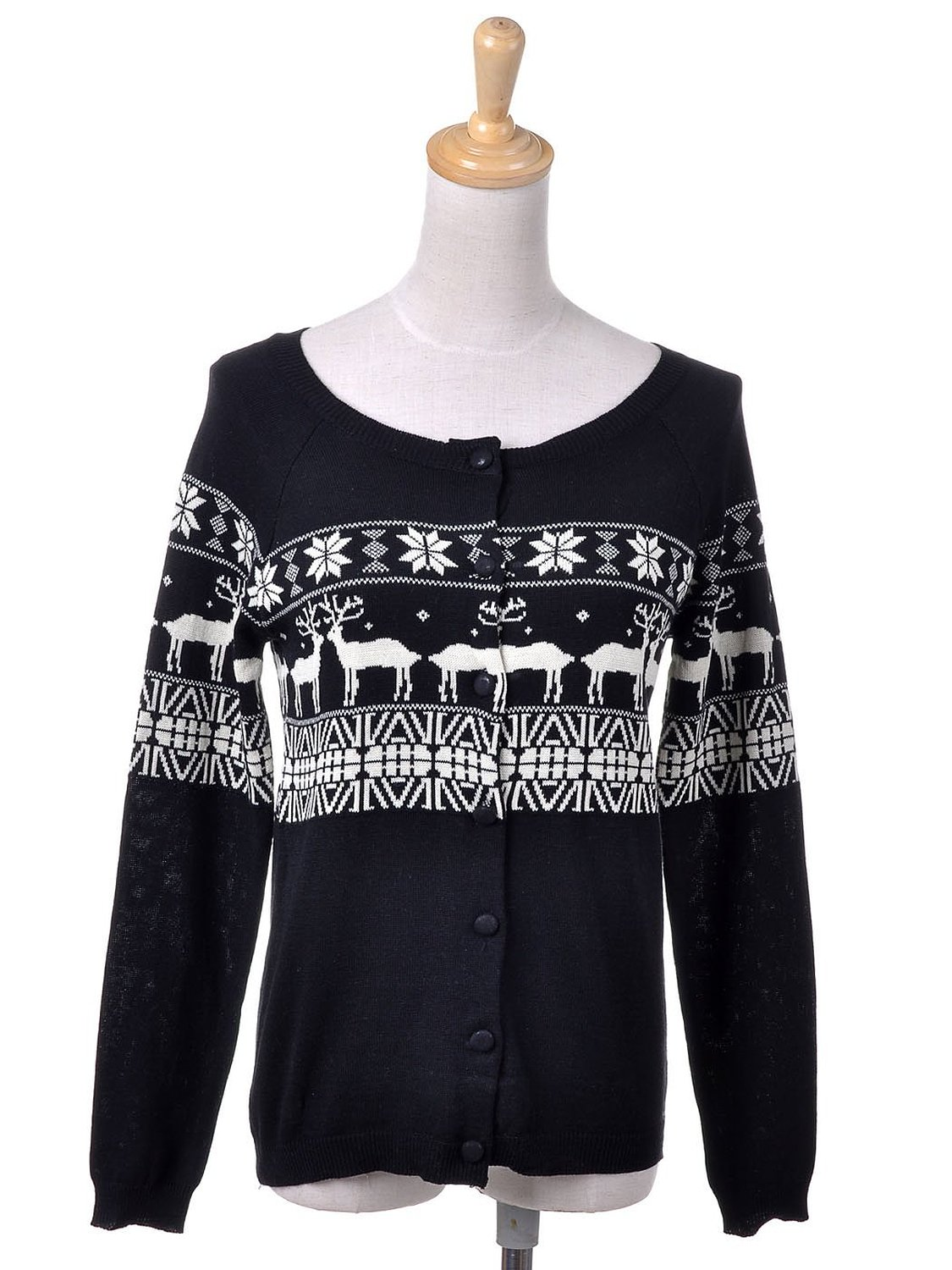 Kaci S/M Fit Black Reindeer Love Snowflakes Button Up Cardigan ...