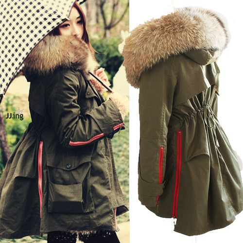 Free Shipping 2013 High Quality Real Raccoon Fur Collar Army Green  Women's Winter Snow Cotton Parka Coat Fur Collar Hood Jacket-inDown & Parkas from Apparel & Accessories on Aliexpress.com
