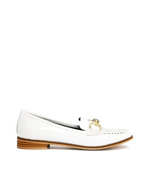 River Island | River Island Patent White Trim Flat Loafers at ASOS