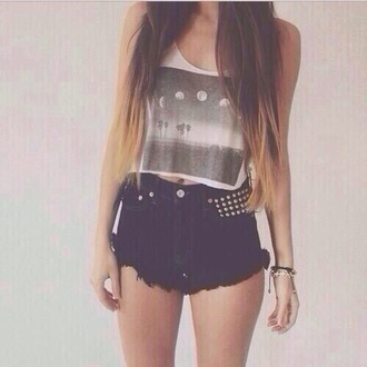 tank top black and white blouse shorts shirt hipster hot blogger style nice summer cute lovely sweet moon black studds gold black shorts highhwaiaisted cute moon crop top high waisted shorts top