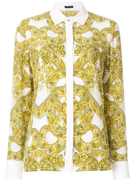 VERSACE shirt women white print silk top