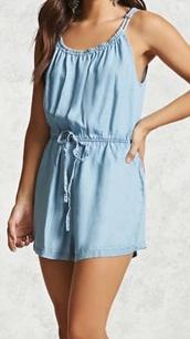 jumpsuit,light blue,denim,short