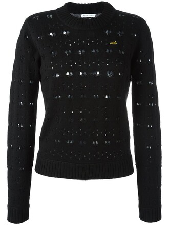 jumper heart lace black sweater