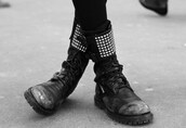 black shoes,spiked shoes,studded shoes,DrMartens,goth shoes,grunge shoes,shoes
