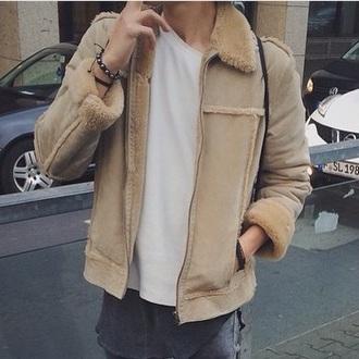 jacket fur faux fur brown beige beige jacket