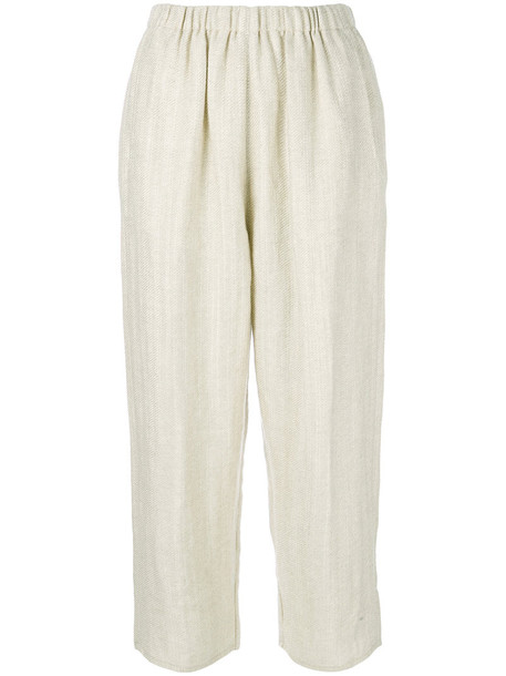 Forte Forte cropped women nude cotton wool pants