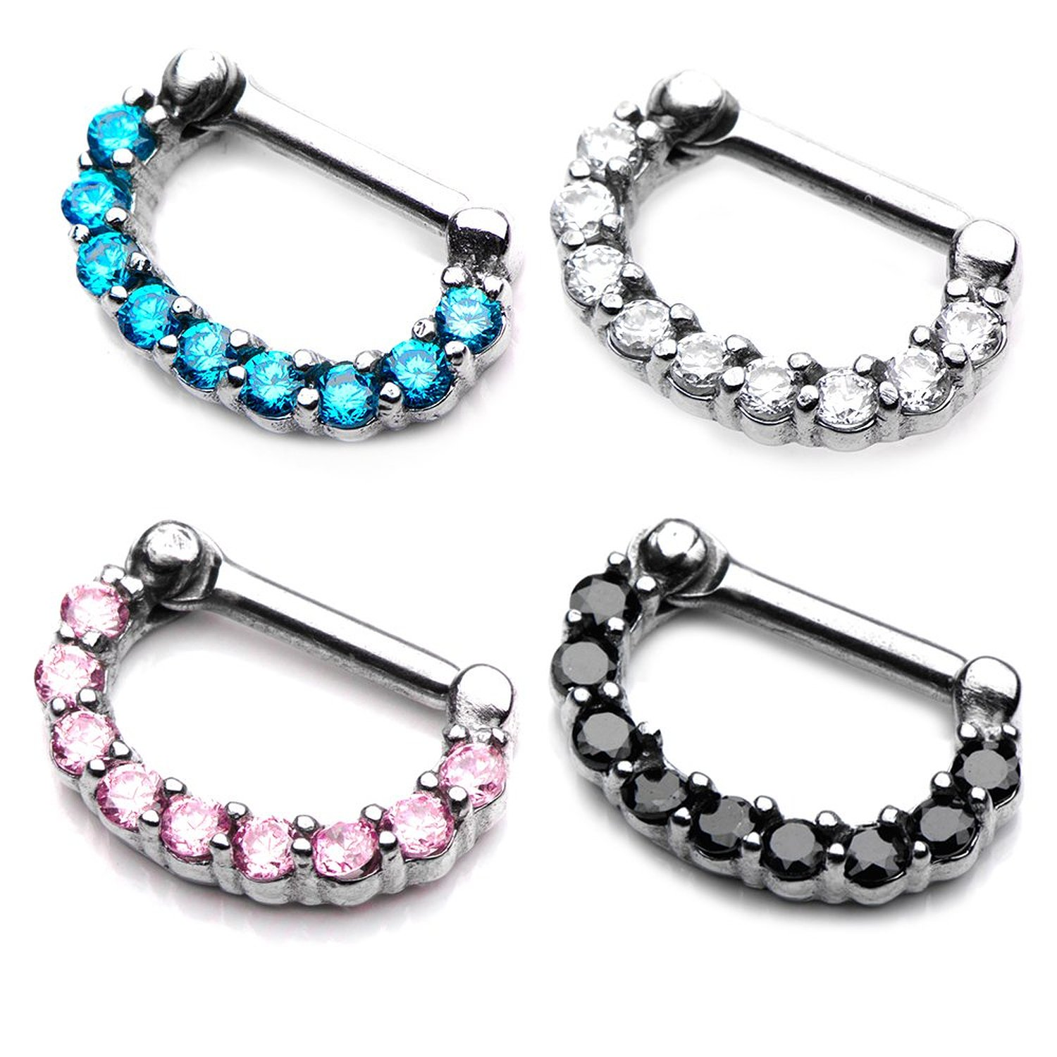Amazon.com: 14 Gauge Crystal Jewel Septum Clicker Nose Ring Surgical Steel Prong Set Hoop - Pink, Clear, Black, Turquoise - Sold Individaully-SEPT41061K - 10x6 Diameters Full Jewel (Black): Jewelry