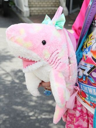 bag pastel goth creepy kawaii creepy cute shark fairy kei pastel kawaii