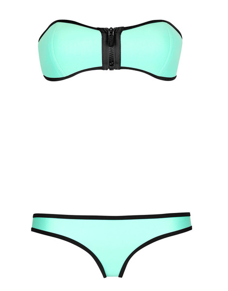 Neon turquoise zip