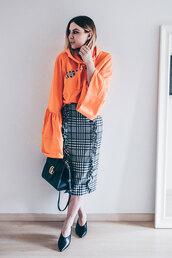 skirt,pencil skirt,checkered skirt,ruffle skirt,midi skirt,sweater,hoodie,satchel bag,mules,blogger,blogger style