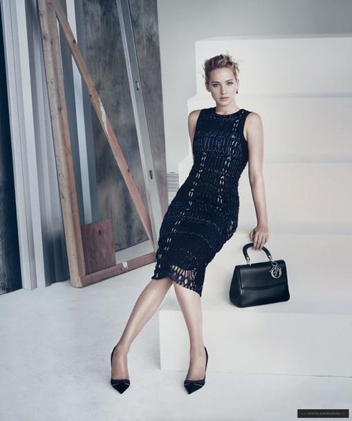 dress jennifer lawrence bodycon dress midi dress dior black dress