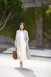 jumpsuit,white jumpsuit,cropped jumpsuit,white sweater,grey coat,pumps,handbag,open back