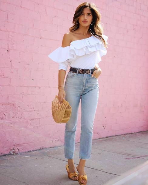 74429f97330 top, tumblr, ruffled top, white top, ruffle, belt, denim, jeans ...