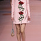 Double crepe rose sequin embroidered high neck dress by dolce & gabbana | moda operandi