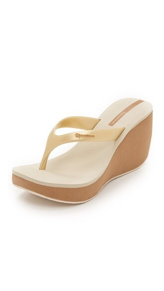 sandals wedge sandals gold beige shoes