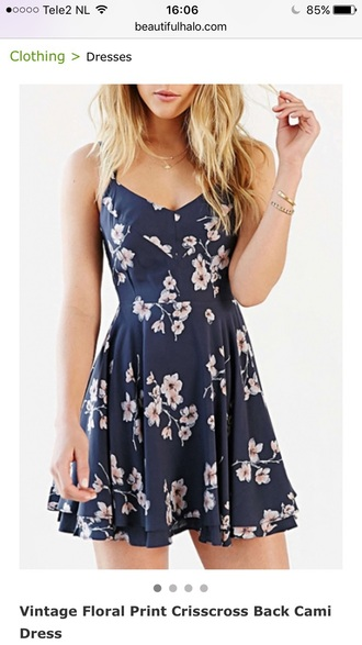 dress blue floral navy summer spring cute girly feminine fashion style trendy flowers beautifulhalo