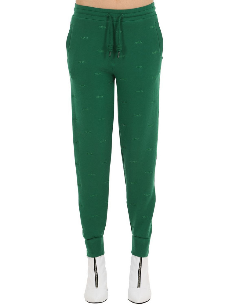 ANGEL CHEN Logo Embroidered Sweatpants in green