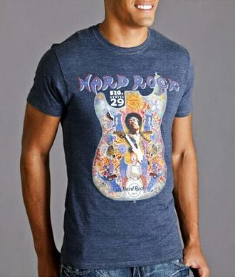 t-shirt psychedelic psych jimi hendrix jimi hendrix blue t-shirt guitar hippie heaven hard rock caf? man shirt