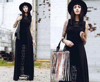 dress black maxi long lacy flowy