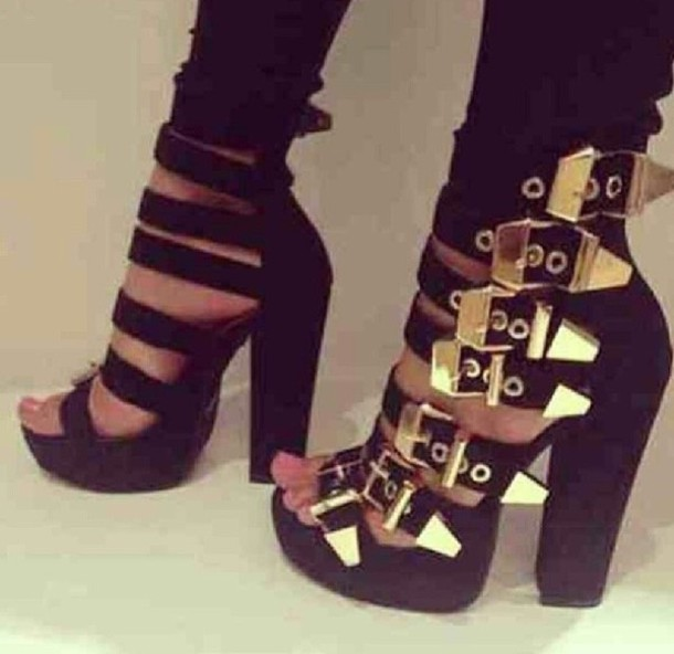Buckles Gold Black Heels - Shop for Buckles Gold Black Heels on