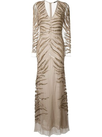 gown beaded nude dress