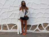 style by nelli,blogger,top,shorts,shoes,jacket,bag,sunglasses,white off shoulder top,eyelet detail,eyelet top,long sleeves,bell sleeves,orange shoes,pumps,pointed toe pumps,high heel pumps,mirrored sunglasses,black shorts,black bag
