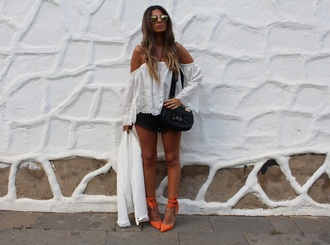 style by nelli blogger top shorts shoes jacket bag sunglasses white off shoulder top eyelet detail eyelet top long sleeves bell sleeves orange shoes pumps pointed toe pumps high heel pumps mirrored sunglasses black shorts black bag