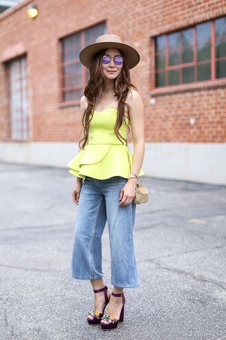 jeans denim culottes denim culottes blue pants blue jeans peplum top peplum yellow top neon sandals sandal heels high heel sandals platform sandals sunglasses mirrored sunglasses hat straw hat spring outfits