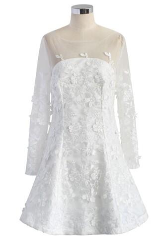 dress frozen floral mesh dress in white chicwish mesh dress white