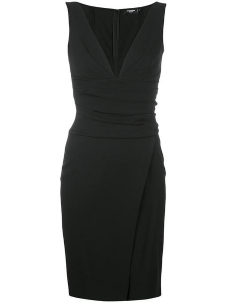 Dsquared2 dress wrap dress women spandex black wool