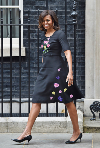 dress midi dress michelle obama first lady outfits pumps floral spring dress