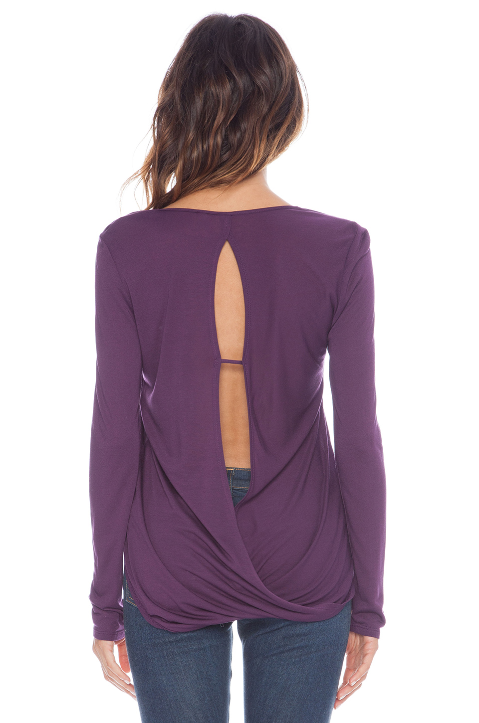 Lanston surplice back top in plum from revolveclothing.com